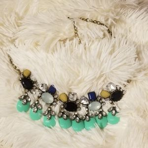 Jewelry - Teal and Navy Blue Statement Bib Necklace